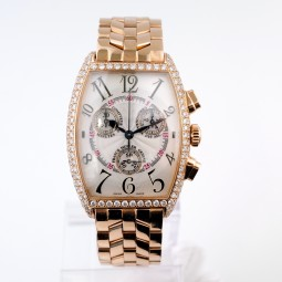 Швейцарские часы Franck Muller Cintree Curvex Chronograph 18k Rose Gold Diamond