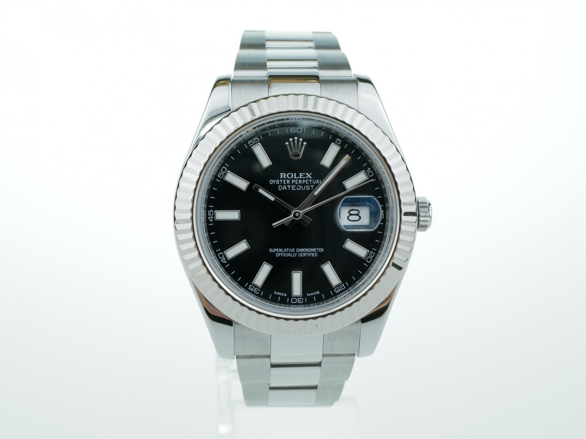 Швейцарские часы Rolex Datejust II 41mm Black Dial White Gold Bezel 116334